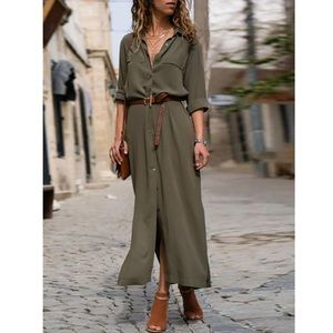 Dynomite Olive Boho Shift Midi Tunic Dress